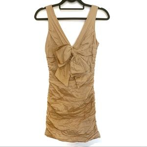 BCBGMaxazria champagne bow ruched cocktail dress